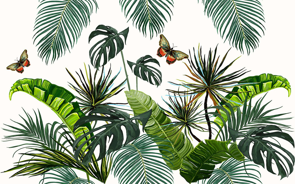 我图网提供独家原创手绘油画热带植物面料图案设计正版素材下载