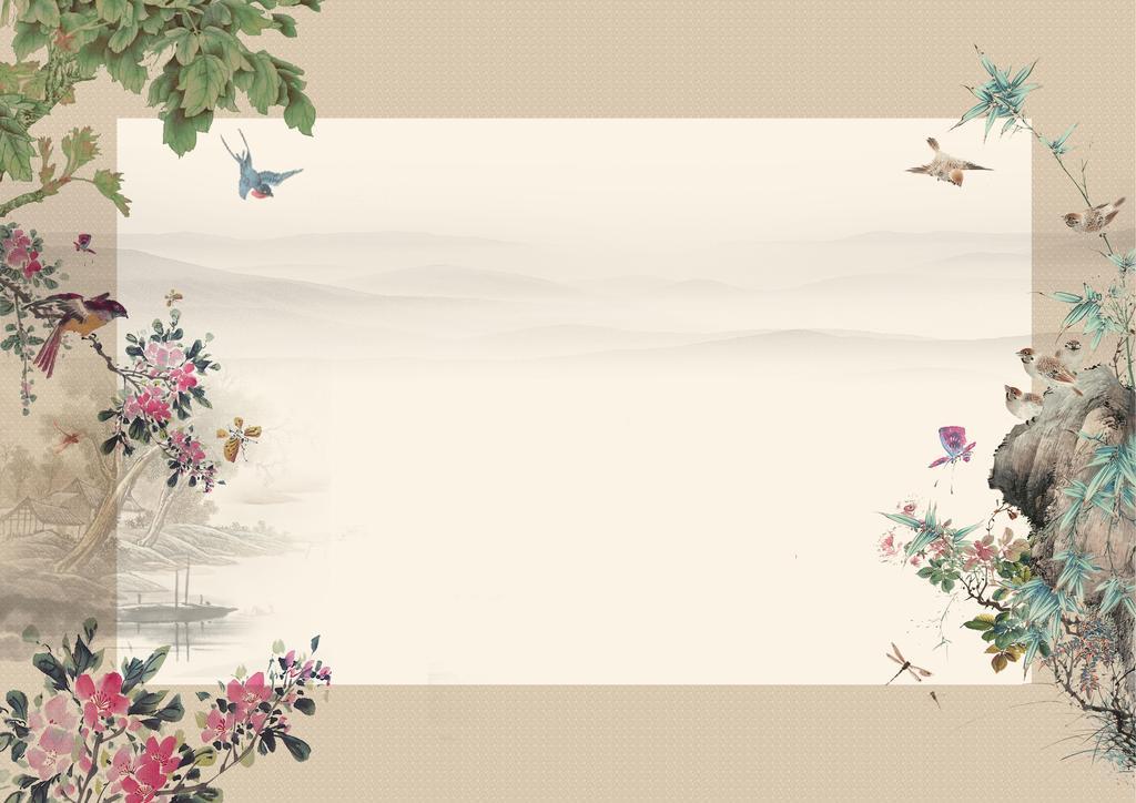 中国风水墨文化海报背景模版psd