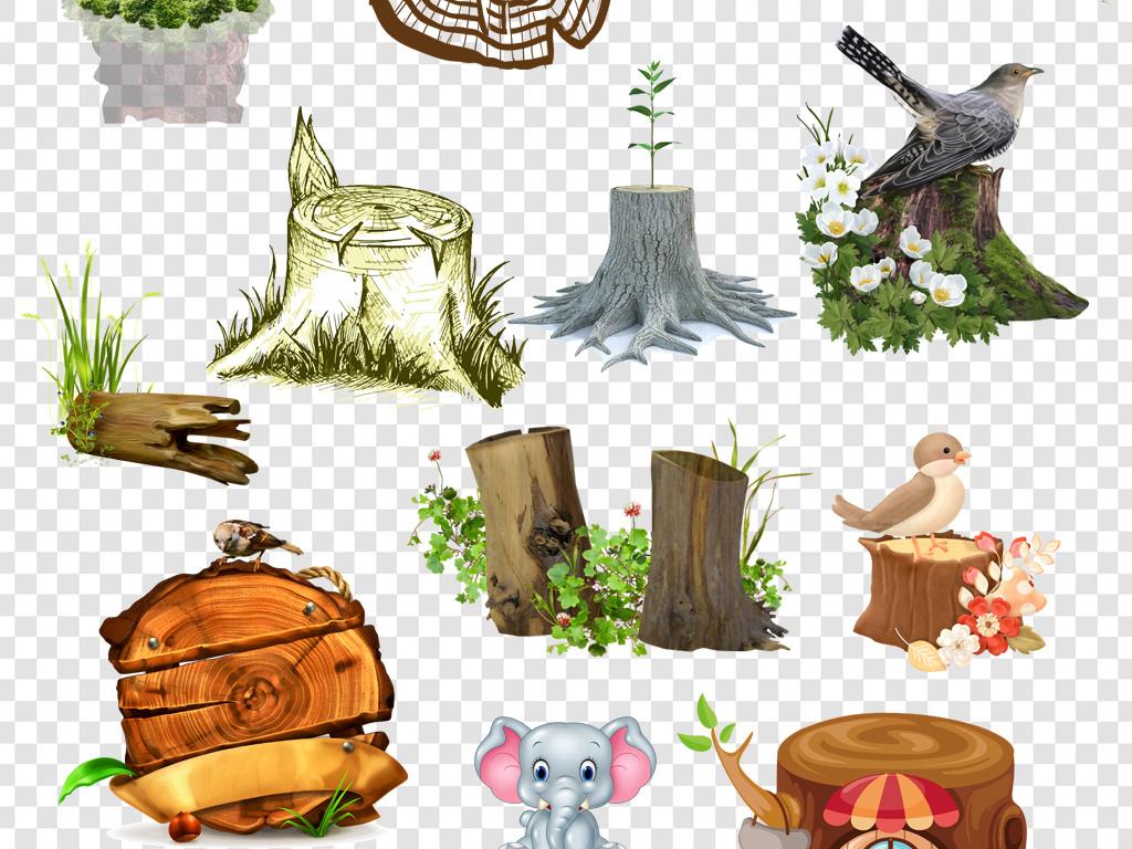 木桩树桩年轮木墩png免扣素材