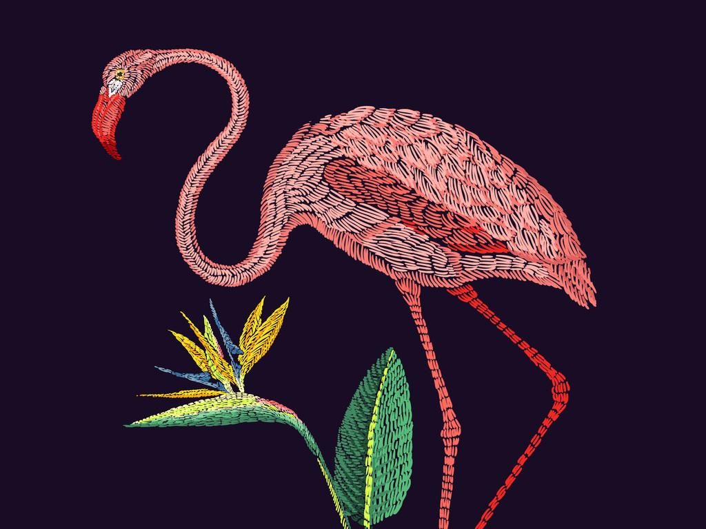 手绘火烈鸟热带植物