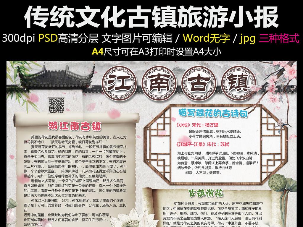 手抄报|小报 其他 其他 > 假期传统文化古镇旅游古典文化小报模板