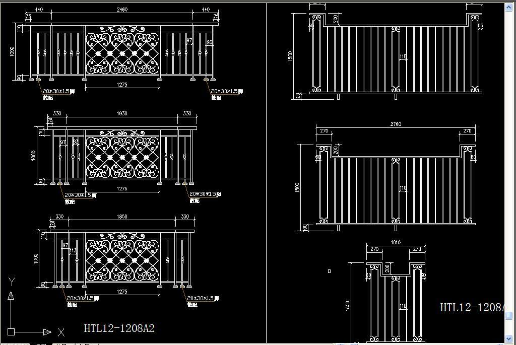 cad图库 室内设计cad图库 cad图纸 > 标准常用铁艺栏杆cad设计详图
