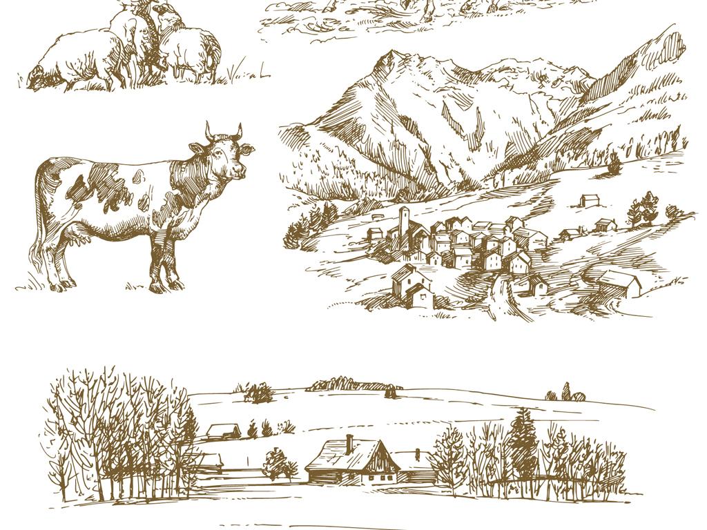 欧式线稿手绘图素材线稿畜牧农场插画