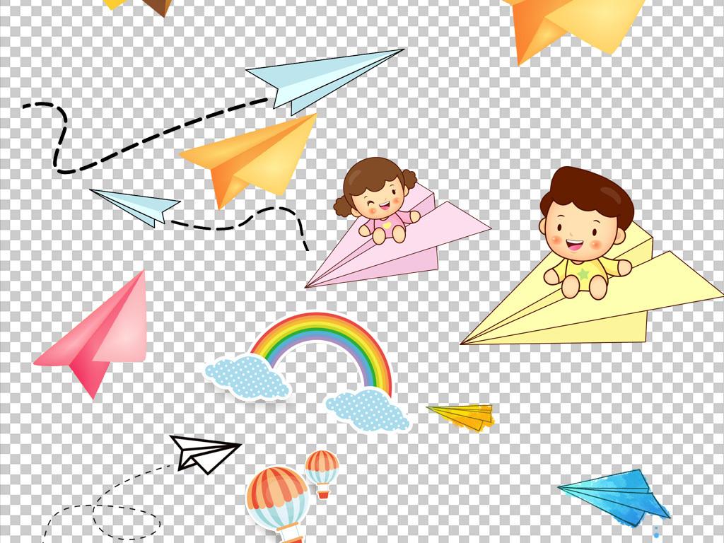 卡通手绘飞机纸飞机png海报素材