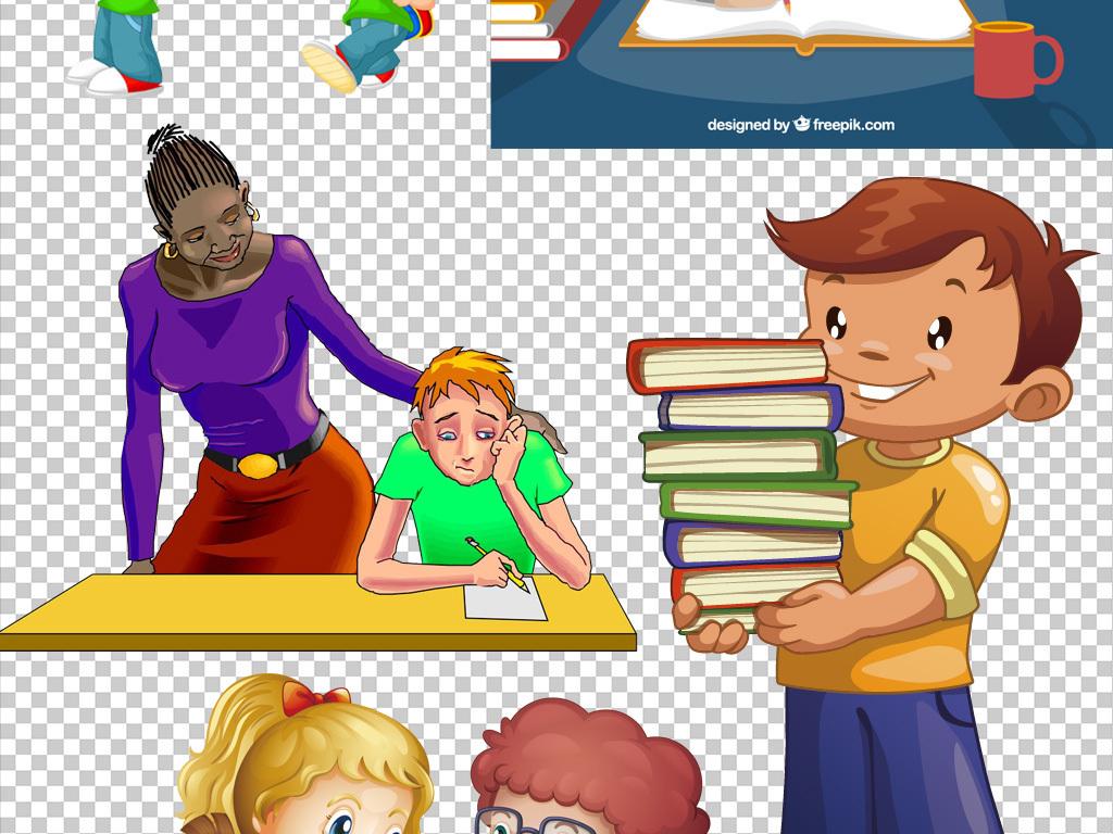 可爱卡通边框学生学习开学季返校季素材