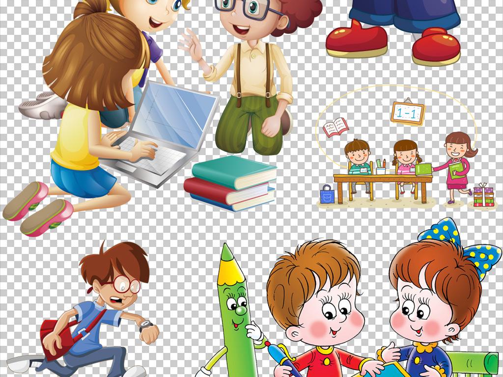 设计元素 人物形象 儿童 > 可爱卡通边框学生学习开学季返校季素材