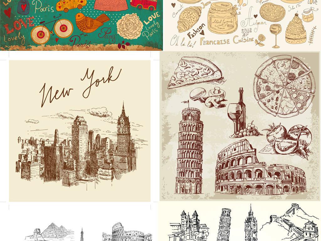 复古手绘线描旅游旅行风土人情世界知名著名建筑美食aieps矢量图