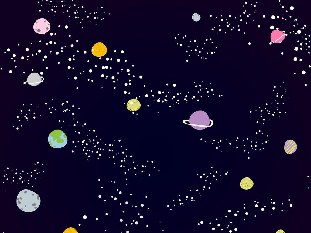 新款手绘太空银河星星星球