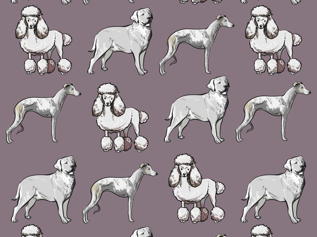 手绘各种狗狗无缝图
