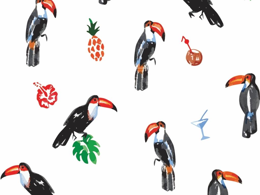 手绘大嘴鸟面料图案设计