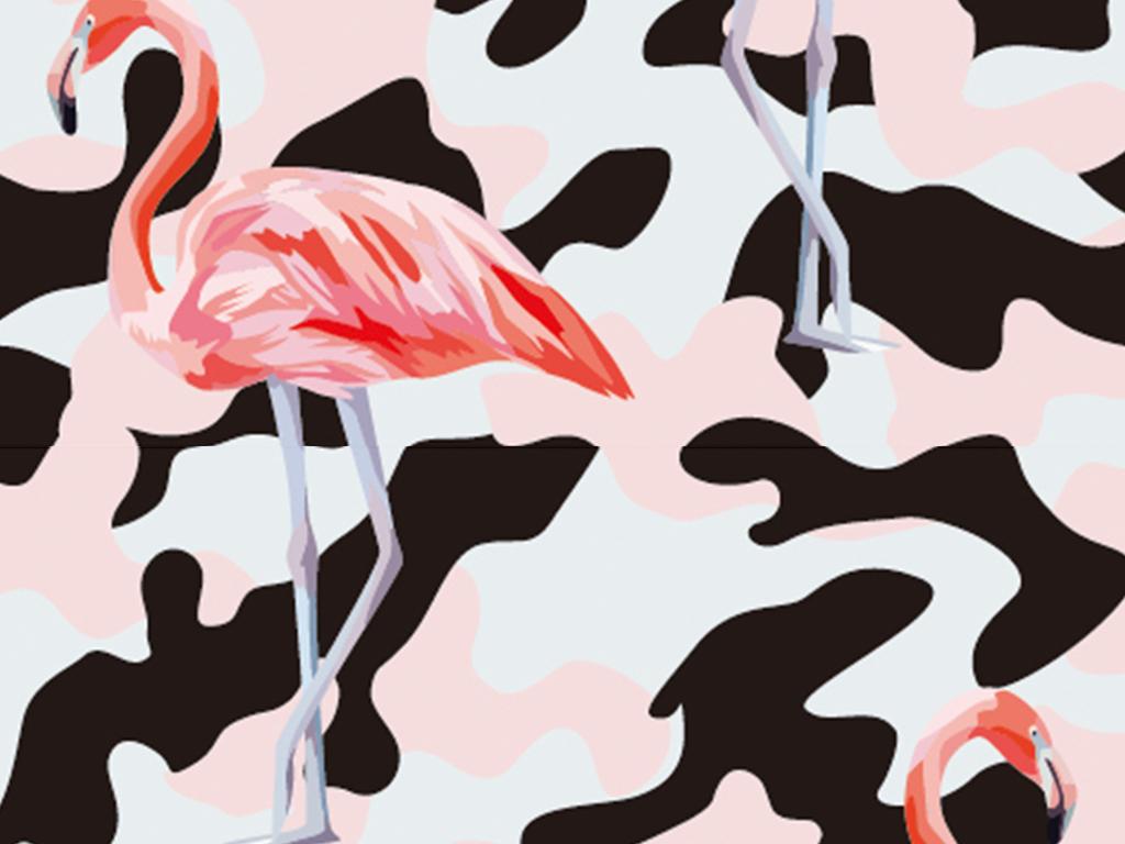 火烈鸟面料图案设计图片下载ai素材-动物图案-我图网