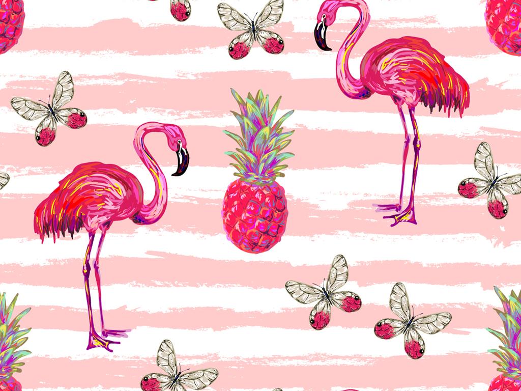 火烈鸟背景图案设计