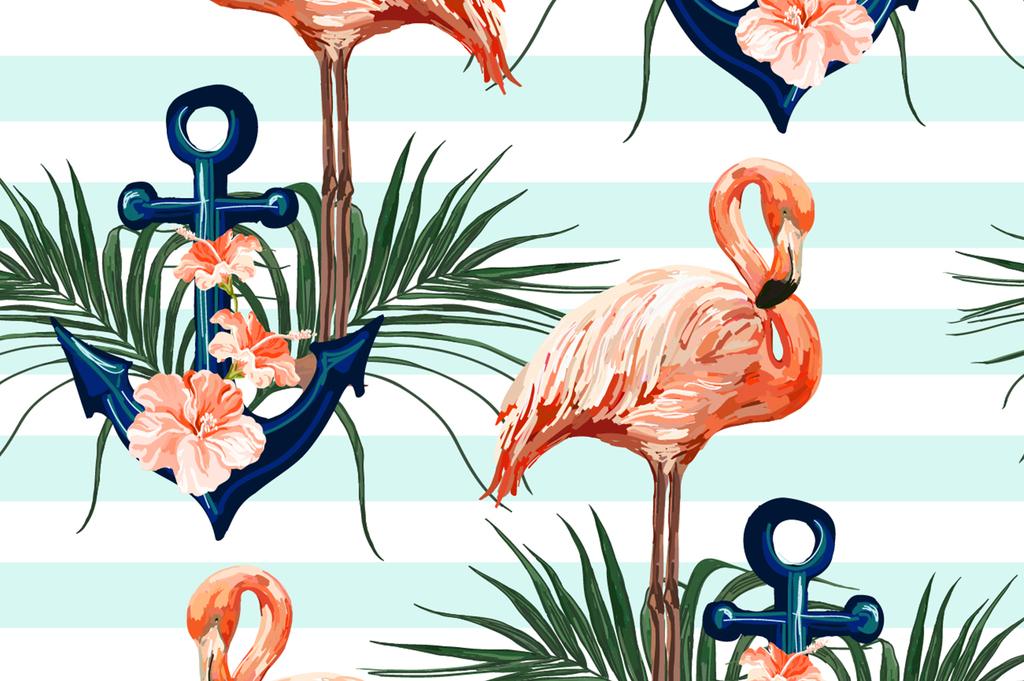 卡通图案满身图案动物植物椰树热带风格火烈鸟设计背景设计设计背景