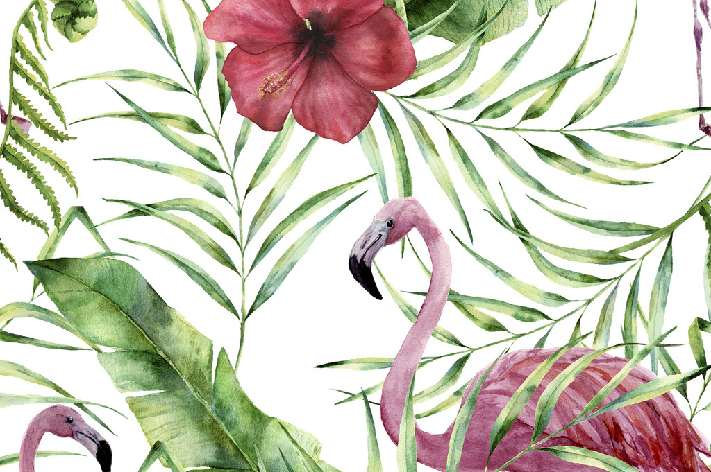 火烈鸟植物花卉背景图案