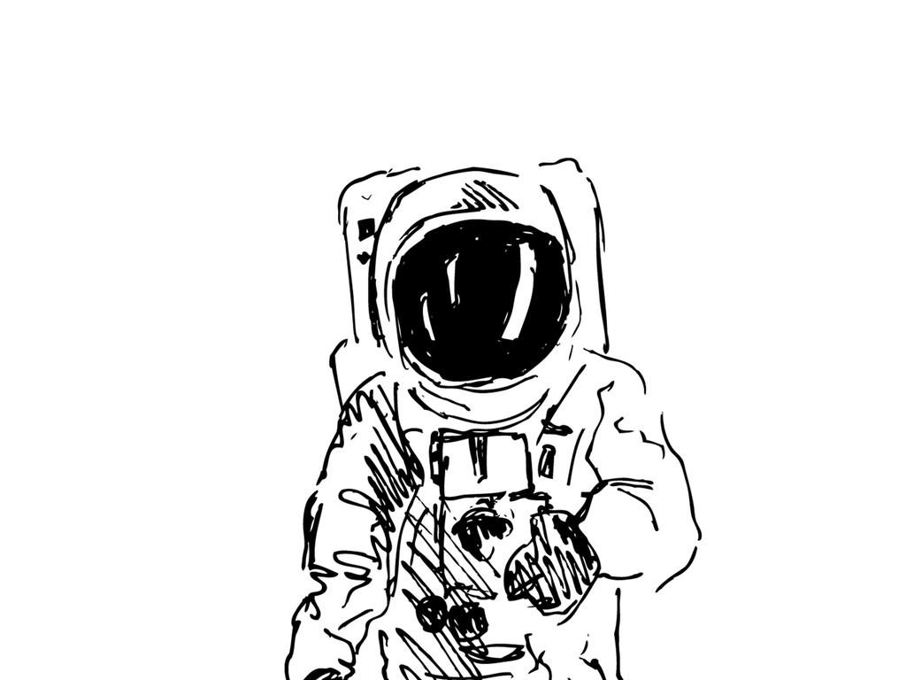 手绘宇航员矢量图