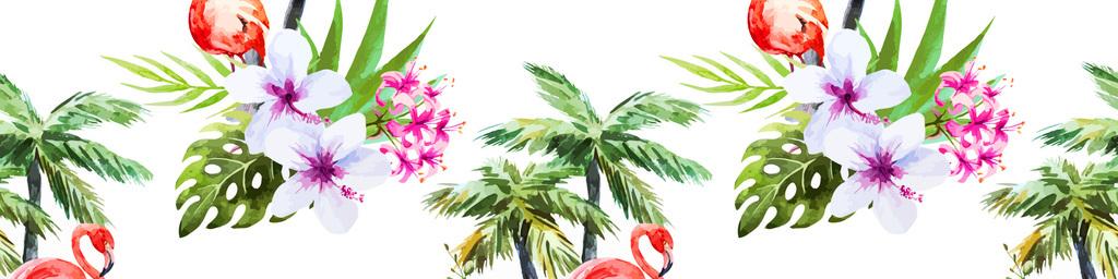 新款水彩手绘火烈鸟椰子树