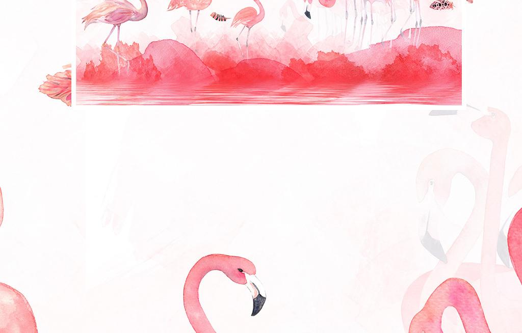 现代简约手绘火烈鸟羽毛壁纸北欧背景墙