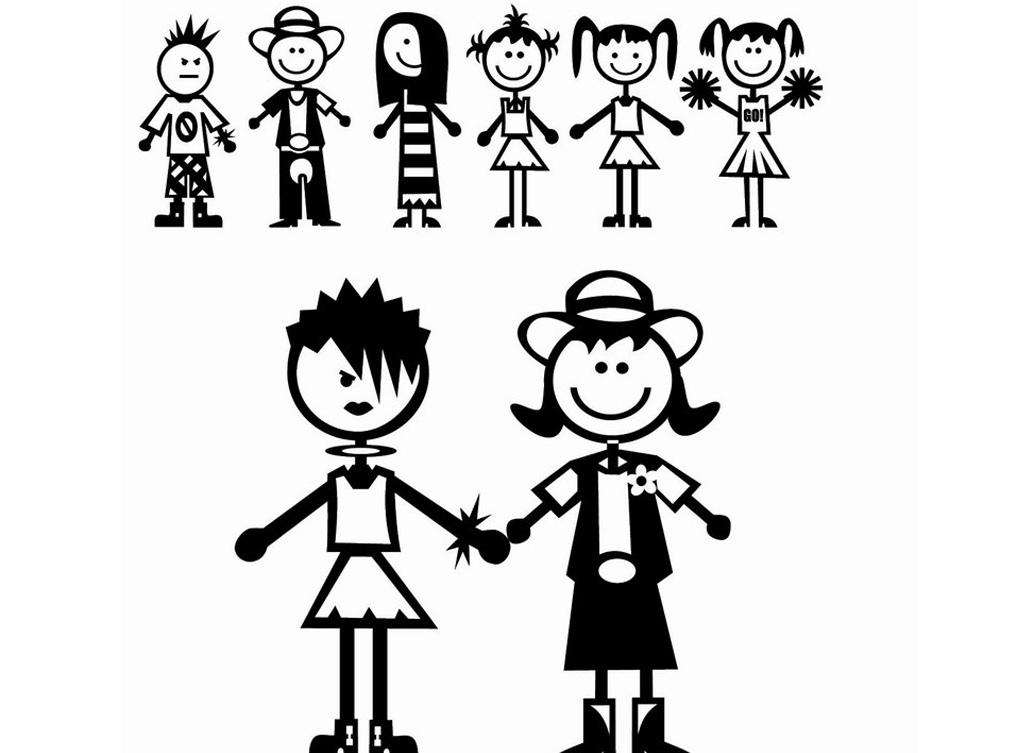 设计元素 人物形象 儿童 > 男生女生卡通姿势造型校园涂鸭系列矢量图