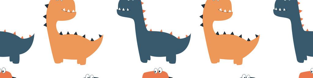 手绘卡通无缝小恐龙