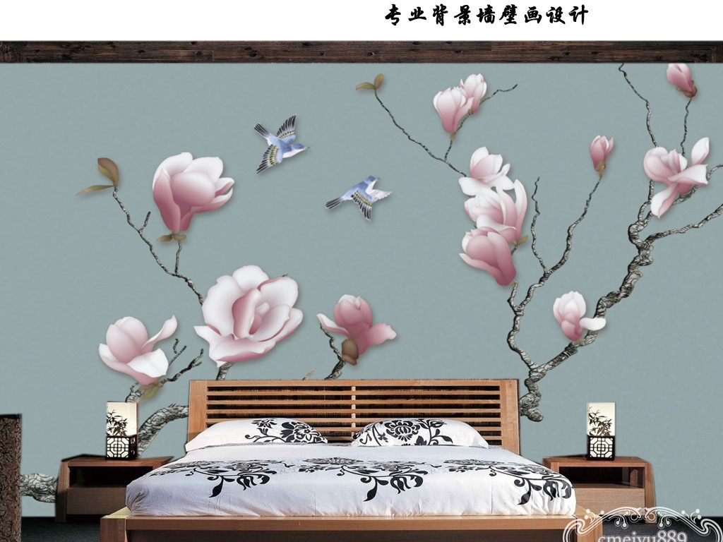 新中式手绘玉兰花鸟电视背景墙壁画