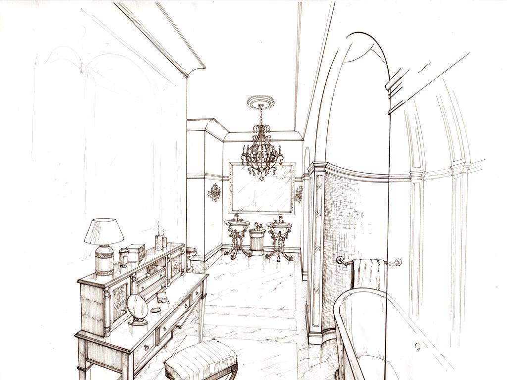 欧式复古建筑手绘彩稿图集