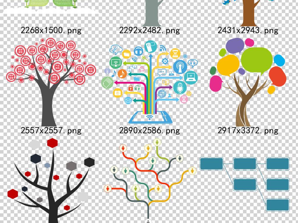 57款ppt树状图大树目录序列png设计模版