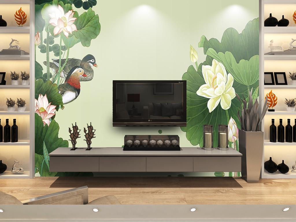 新复古怀旧手绘荷花鸳鸯电视沙发背景墙