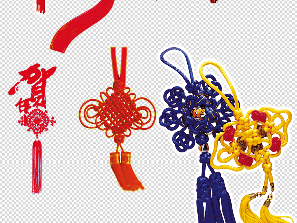 卡通手绘红色中国结装饰设计元素png