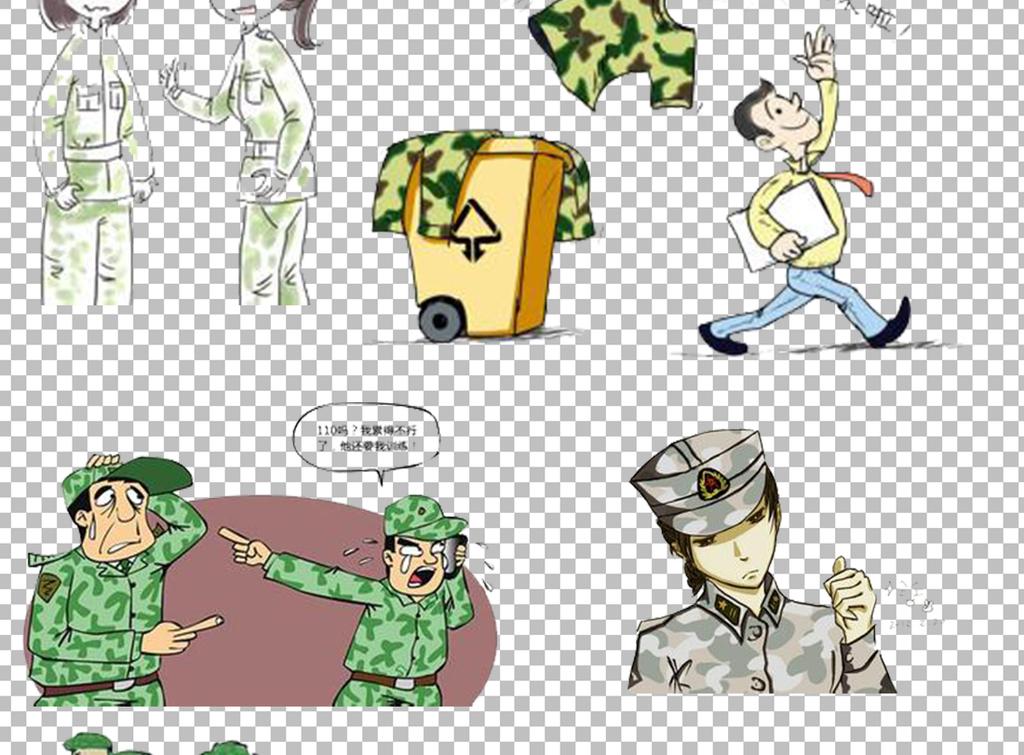 卡通军训人物简笔画