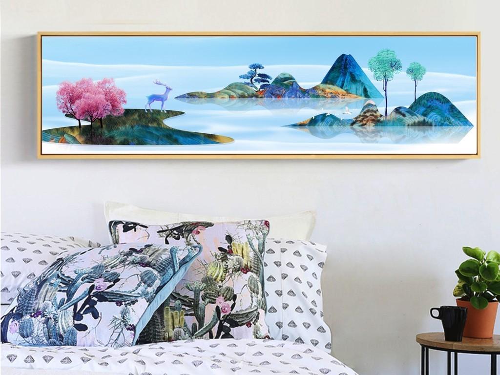 北欧清新系列可爱手绘风景横款装饰画