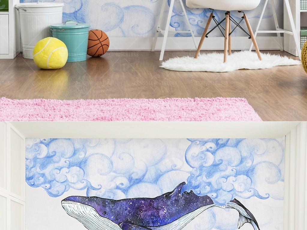 手绘卡通海底天空云朵鲸鱼背景墙装饰画