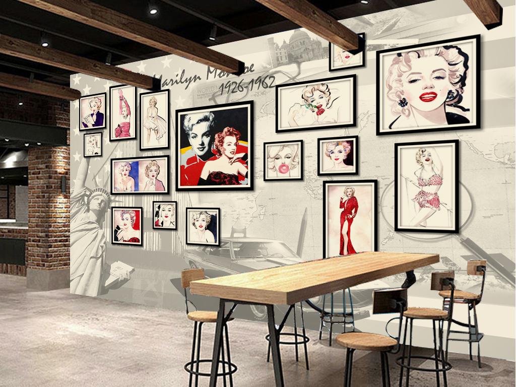手绘彩色玛丽莲梦露经典怀旧照片墙背景墙