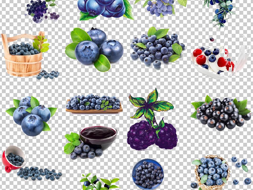 新鲜蓝莓手绘蓝莓绿叶设计png素材