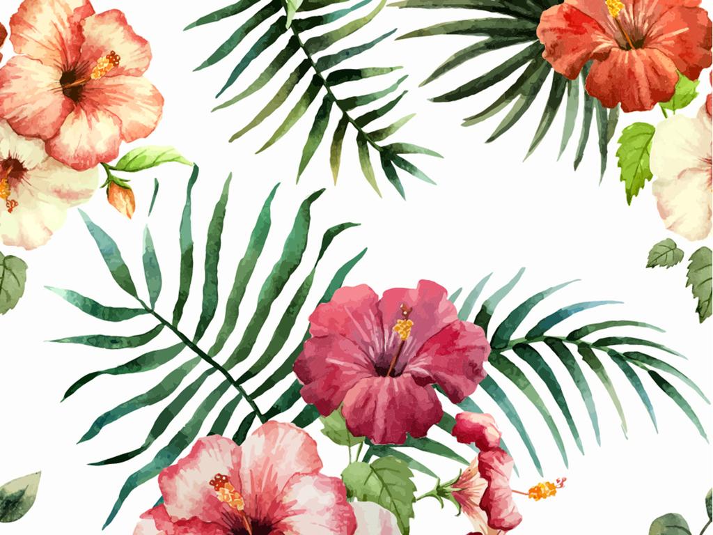 手绘植物热带树叶