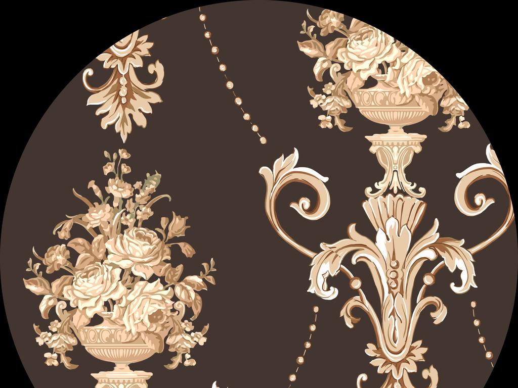 新款手绘欧式花纹卷叶纹欧式花纹边框设计元素窗帘图案墙贴抽象