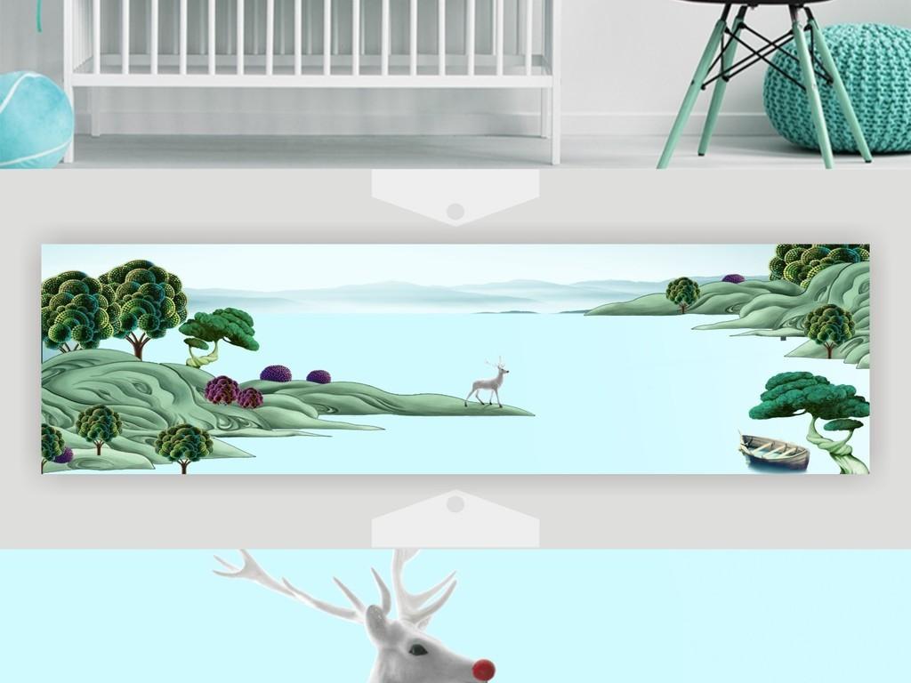 北欧清新系列绿色风景山水麋鹿清新装饰画
