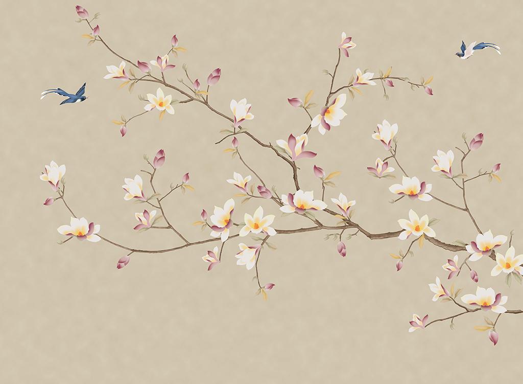 新中式玉兰花开富贵手绘工笔花鸟背景墙