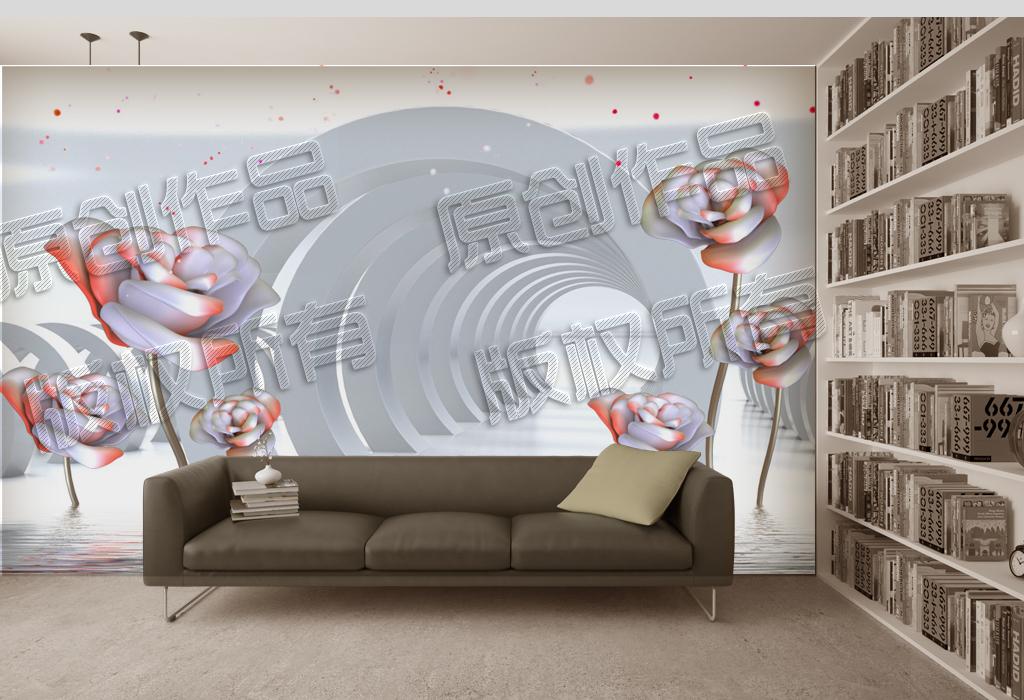 壁画客厅背景墙沙发背景墙3d装饰画墙纸光点水波纹创意设计梦幻几何