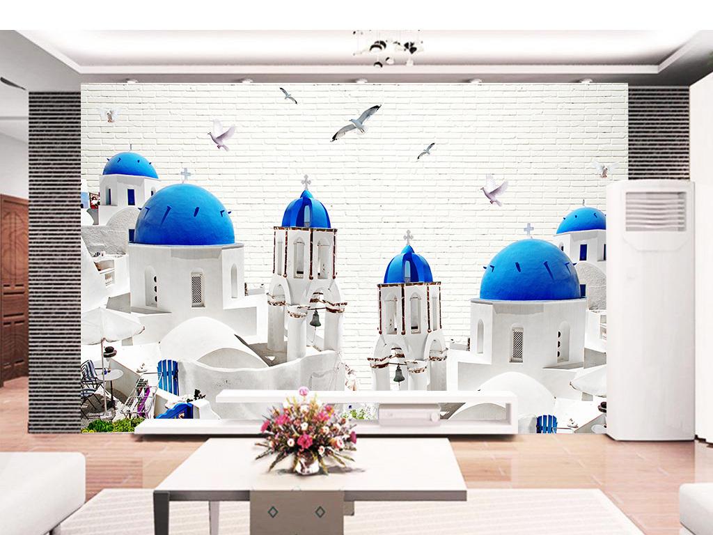 爱情海海鸥地中海风光建筑风格背景墙图片设计素材_(.图片