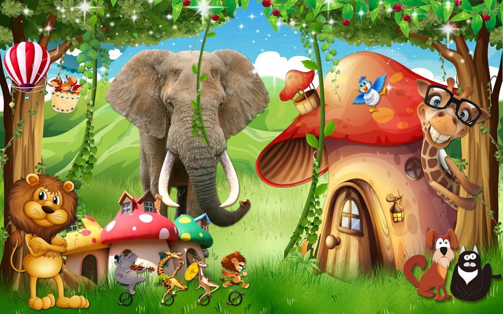 梦幻森林卡通儿童房蘑菇房小孩房壁画