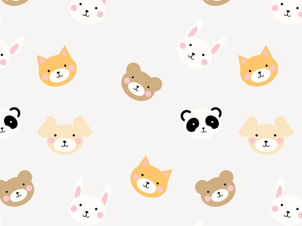 卡通动物头像熊猫小熊兔子