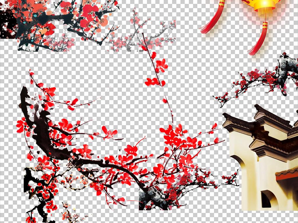 矢量图梅花素材树枝中国风古风水墨山水古典文化水墨梅花中国梅花图
