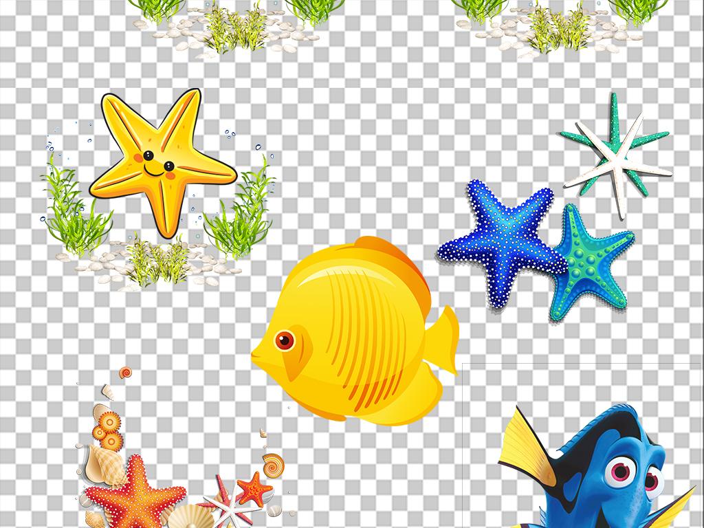 装饰虾手绘海藻海洋绿色海底
