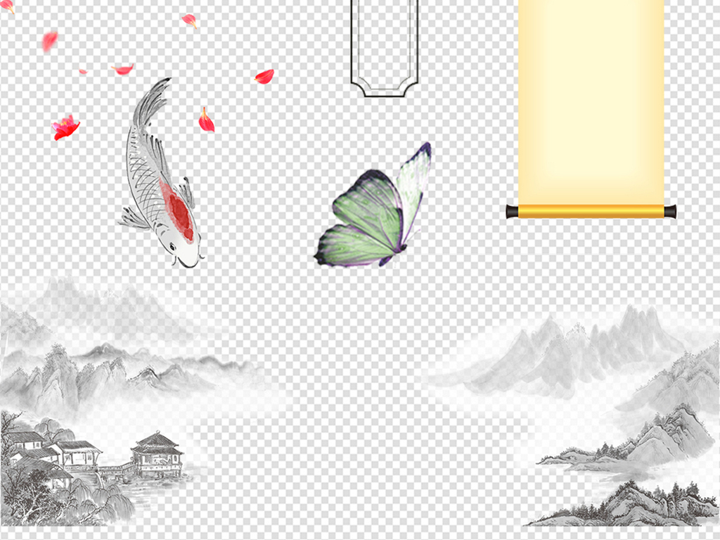 62款中国风古风风景画古代背景素材
