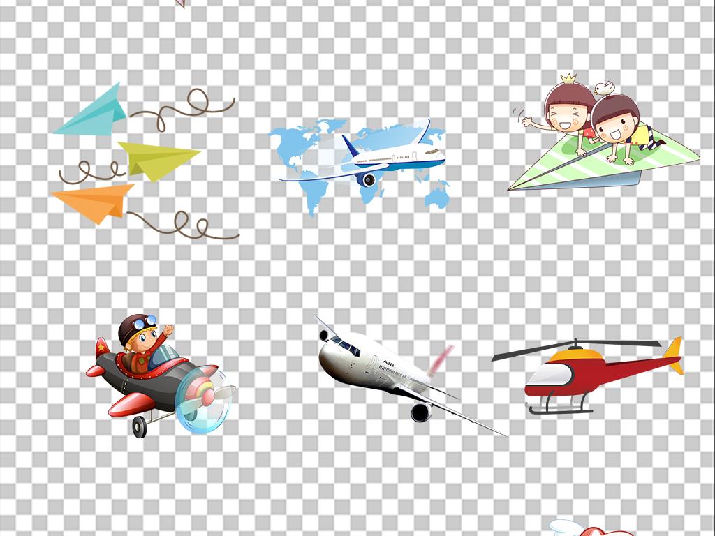 飞机卡通飞机免扣png素材
