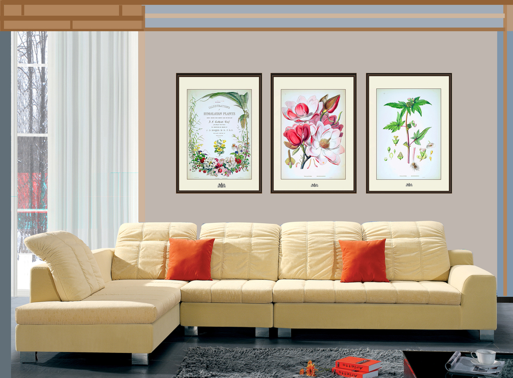 背景墙|装饰画 全屋背景墙 全屋背景墙 > 绿色植物图谱手绘兰花纹美式