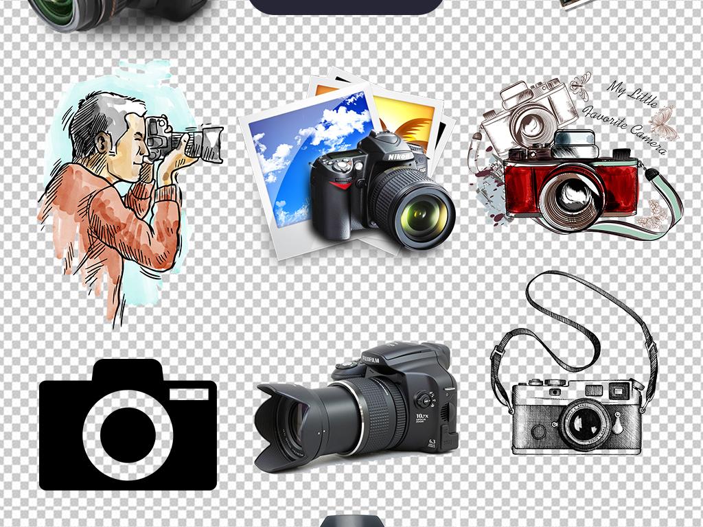 相机的卡通图片手绘相机图标标志单反数码相机尼康复古照相