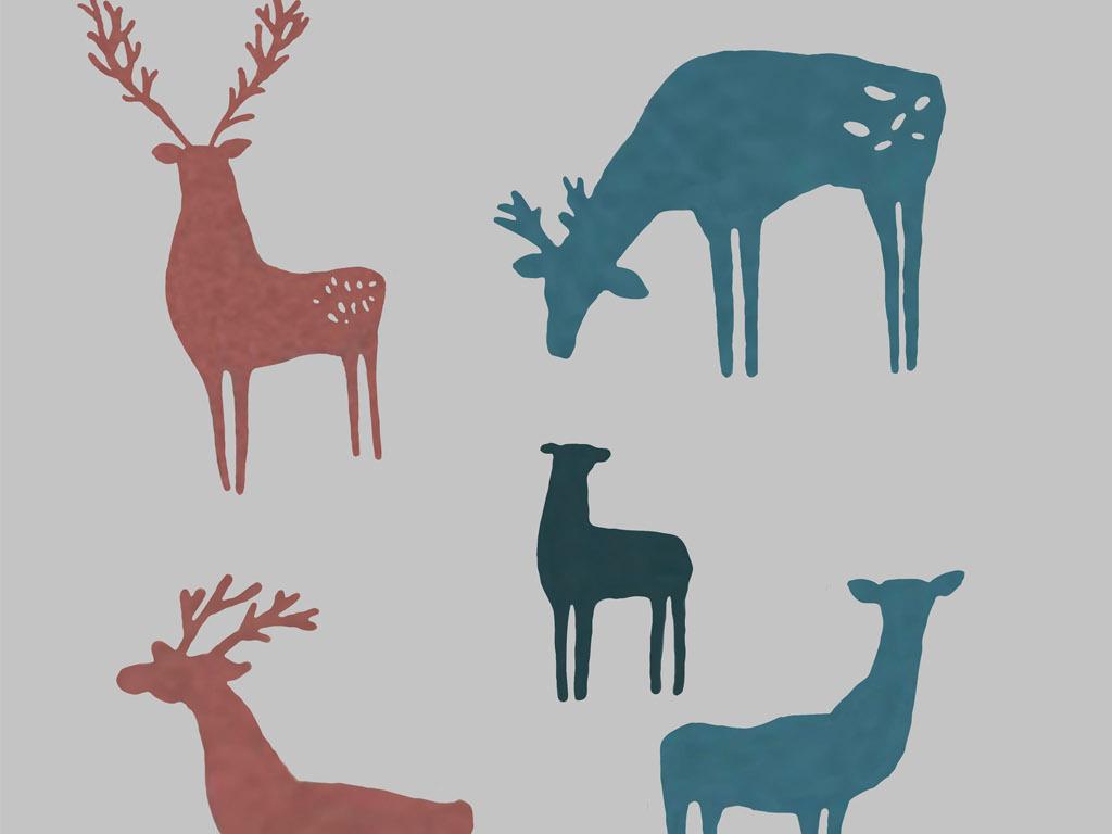 水彩鹿森林鹿剪影麋鹿剪影免扣素材
