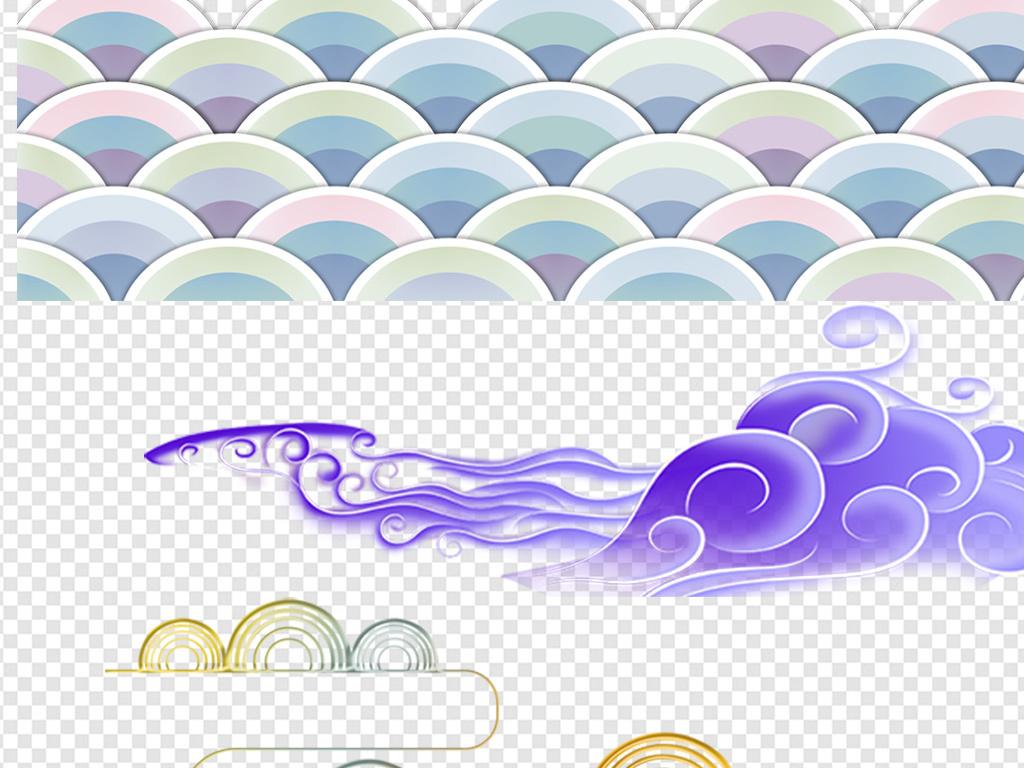 祥云古风中式古典边框背景素材png