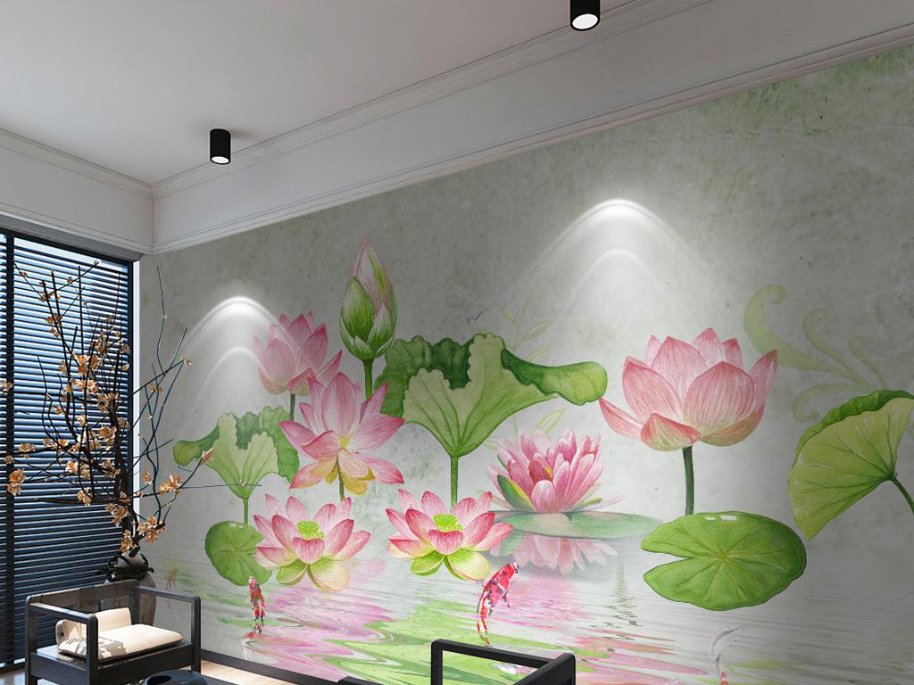 新中式写意手绘荷花游鱼电视沙发背景墙